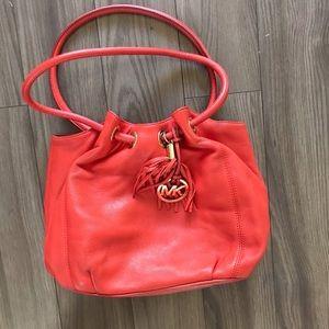 Michael Kors Red Leather Hobo Bag